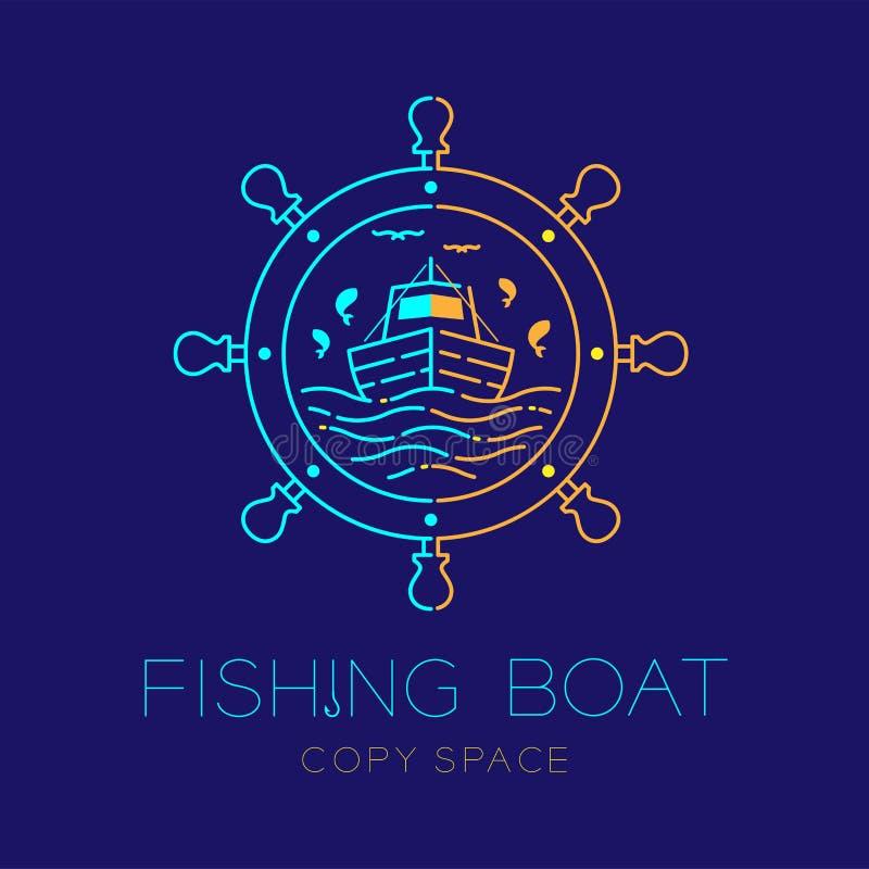 Το εικονίδιο λογότυπων μορφής πλαισίων κύκλων αλιευτικών σκαφών, τιμονιών ψαριών, seagull, κυμάτων και περιγράφει την καθορισμένη διανυσματική απεικόνιση