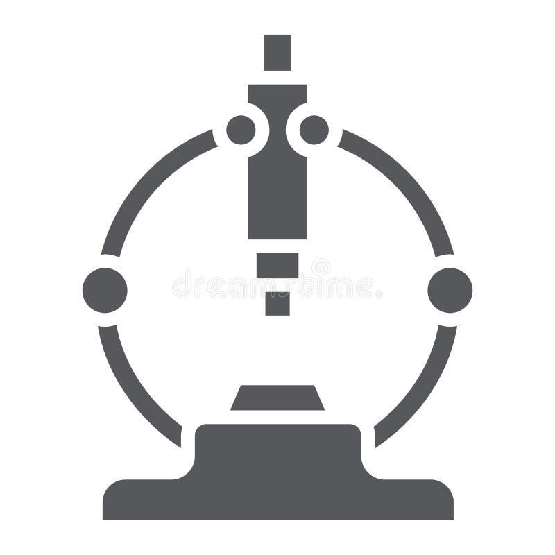 Το εικονίδιο μικροσκοπίων glyph, επιστημονικός και ο εξοπλισμός, εργαστήριο ενισχύουν το σημάδι, διανυσματική γραφική παράσταση,  ελεύθερη απεικόνιση δικαιώματος