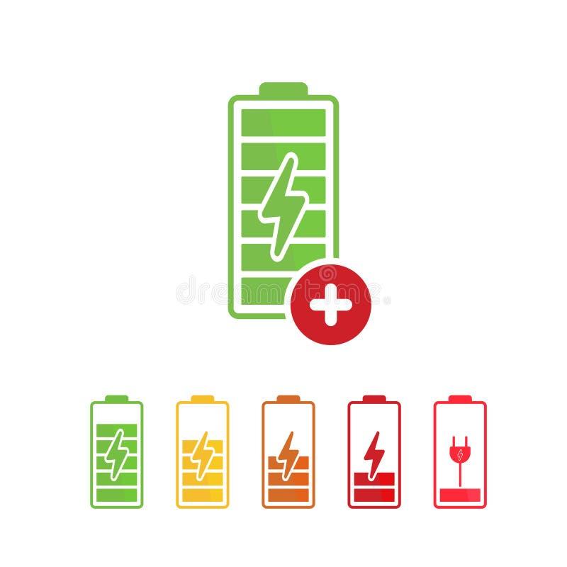 Το εικονίδιο μπαταριών με προσθέτει το σημάδι Εικονίδιο μπαταριών και νέος, συν, θετικό σύμβολο απεικόνιση αποθεμάτων
