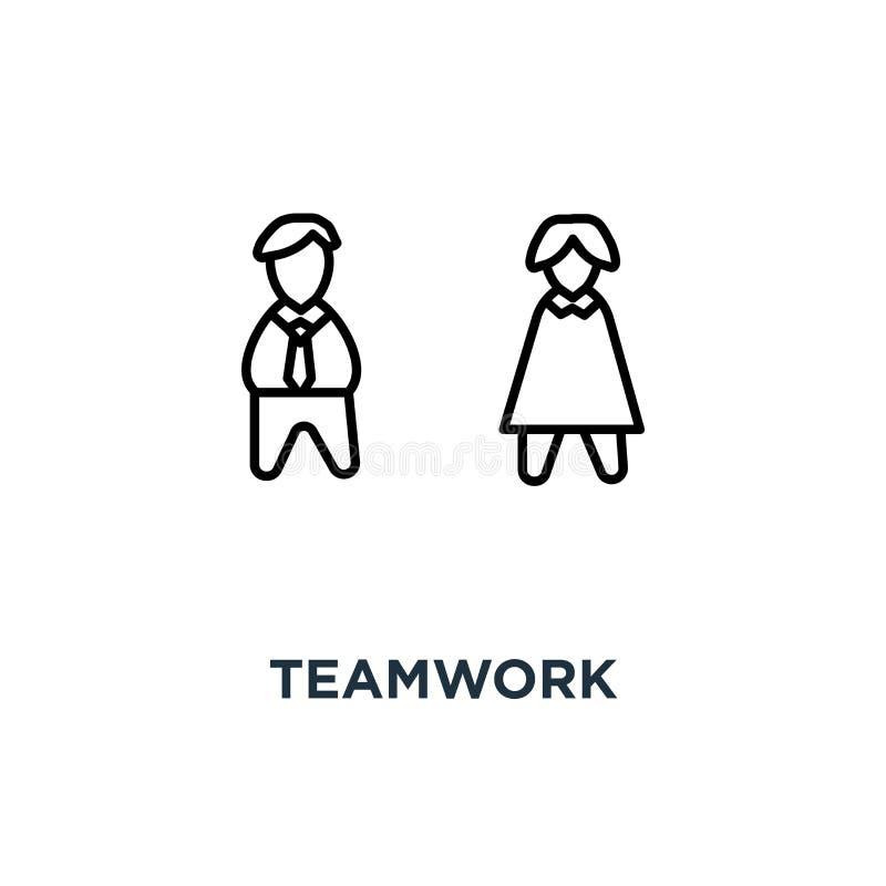 το εικονίδιο ομαδικής εργασίας, σύμβολο της λύσης προβλήματος, ομάδα τριών χαριτωμένων ανθρώπων κινούμενων σχεδίων συζητά μια νέα διανυσματική απεικόνιση