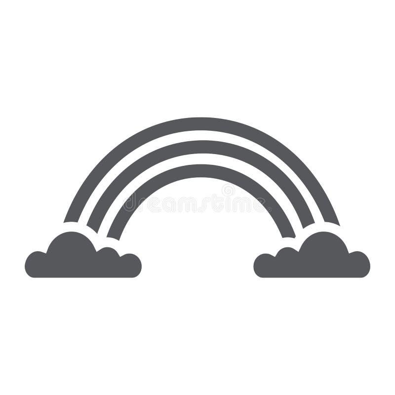 Το εικονίδιο ουράνιων τόξων glyph, ο καιρός και το κλίμα, ουράνιο τόξο στα σύννεφα υπογράφουν, διανυσματική γραφική παράσταση, έν διανυσματική απεικόνιση