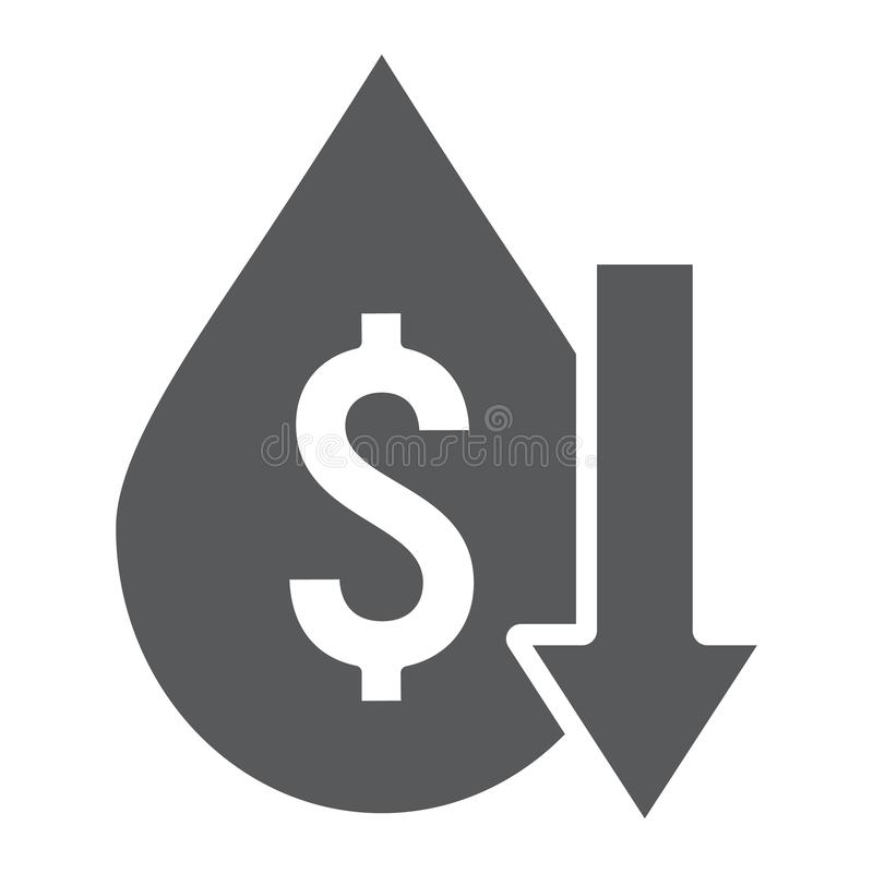 Το εικονίδιο πτώσεων τιμών πετρελαίου glyph, η κρίση και τα καύσιμα, πετρέλαιο κοστίζουν το χαμηλό σημάδι, διανυσματική γραφική π ελεύθερη απεικόνιση δικαιώματος