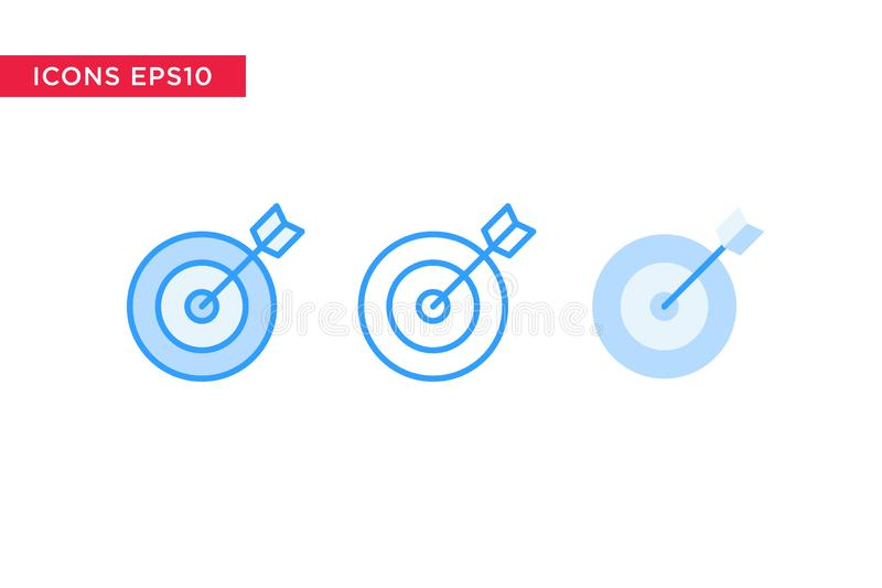 Το εικονίδιο στόχων στη γραμμή, περίληψη, γέμισε την περίληψη και το επίπεδο ύφος σχεδίου που απομονώθηκαν στο άσπρο υπόβαθρο eps ελεύθερη απεικόνιση δικαιώματος