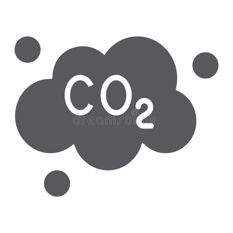 Το εικονίδιο του CO2 ρύπανσης glyph, η οικολογία και το διοξείδιο, εκπομπές του CO2 καλύπτουν το σημάδι, διανυσματική γραφική παρ ελεύθερη απεικόνιση δικαιώματος