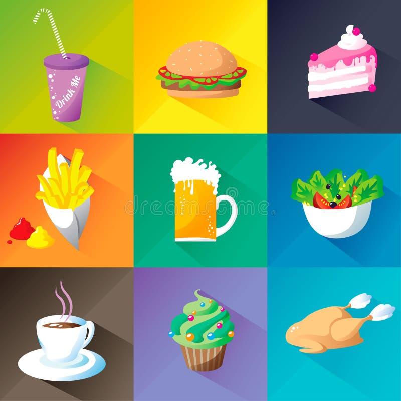 Το εικονίδιο τροφίμων έθεσε στο διαφορετικό υπόβαθρο χρωμάτων: το χάμπουργκερ, salade, μπύρα, κοτόπουλο, coffe, τηγανητά, cupcake διανυσματική απεικόνιση
