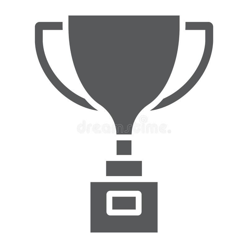 Το εικονίδιο φλυτζανιών βραβείων glyph, κερδίζει και βραβείο, φλυτζάνι τροπαίων απεικόνιση αποθεμάτων