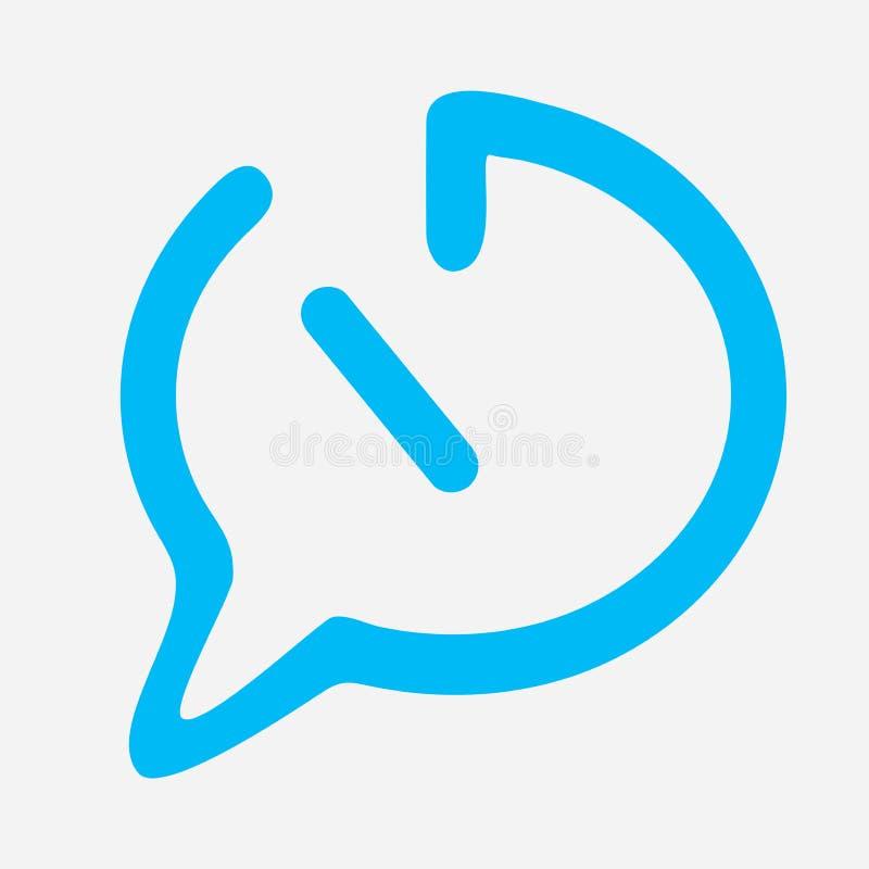 Το εικονίδιο χρονικής συνομιλίας στο μπλε χρώμα με ευθειών γραμμών κάμψεων μπλε βέλος γραμμών διαλόγου συρμένο το κιβώτιο παχύ μπ ελεύθερη απεικόνιση δικαιώματος