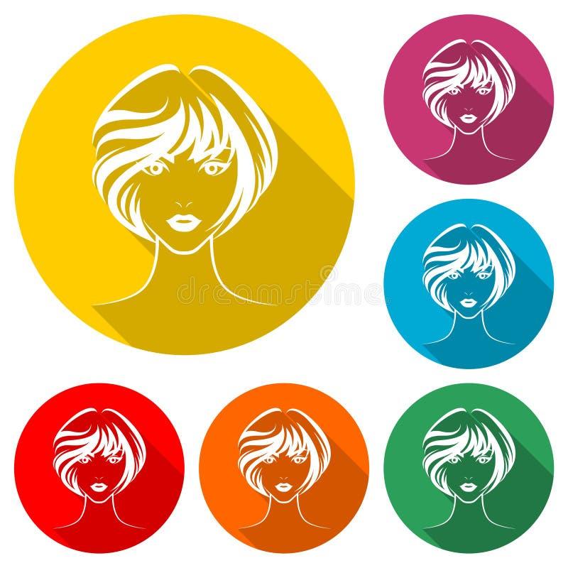 Το εικονίδιο ύφους τρίχας γυναικών, πρόσωπο γυναικών λογότυπων, χρώμα έθεσε με τη μακριά σκιά απεικόνιση αποθεμάτων