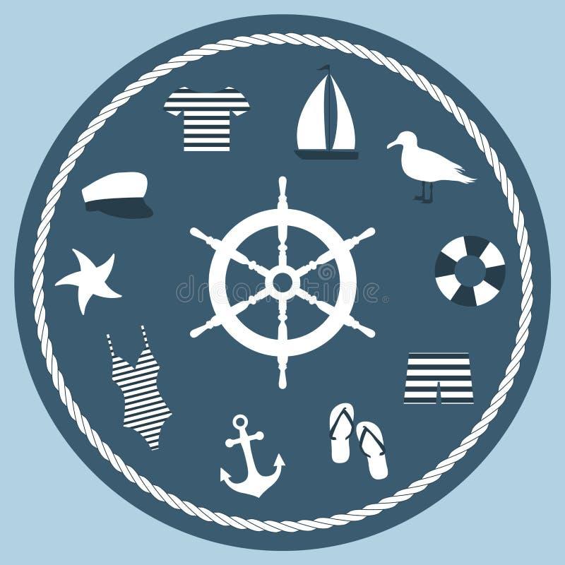 Το εικονίδιο έθεσε σε ένα θαλάσσιο ύφος με ένα τιμόνι στο κέντρο της σύνθεσης στοκ φωτογραφίες