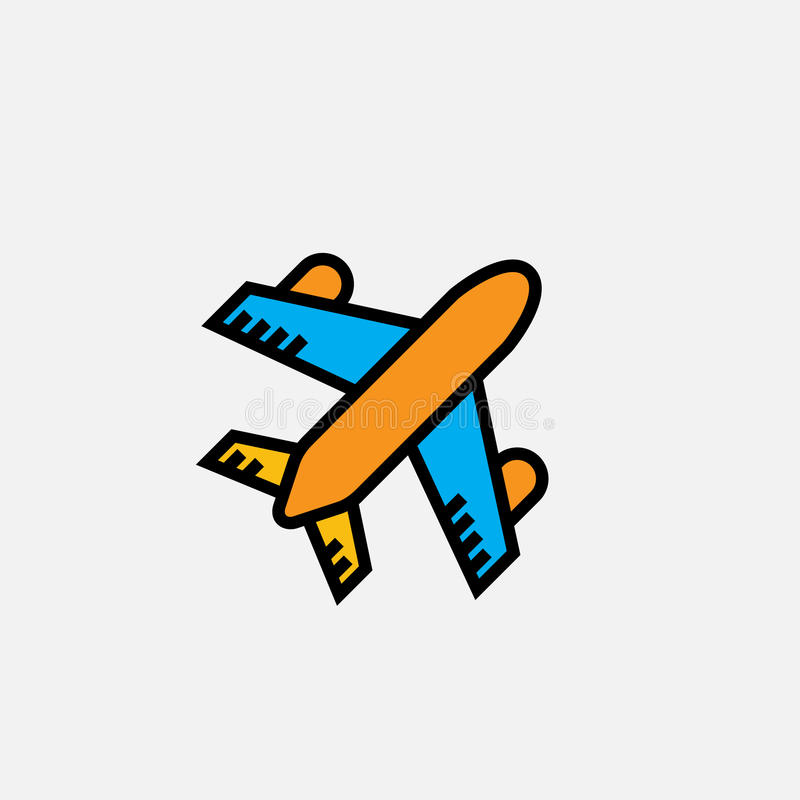 Το εικονίδιο αεροπλάνων, διανυσματική απεικόνιση λογότυπων περιλήψεων, γέμισε το γραμμικό εικονόγραμμα χρώματος που απομονώθηκε σ ελεύθερη απεικόνιση δικαιώματος
