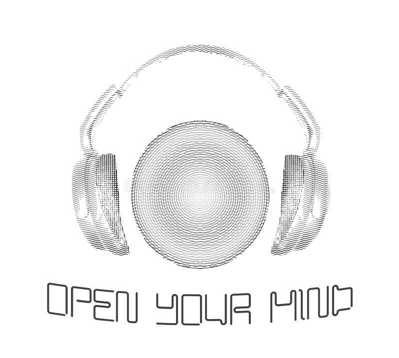 Το εικονίδιο ακουστικών με το αφηρημένο υγιές κύμα κτυπά Σχεδιασμένος στο καλλιτεχνικό ύφος περιλήψεων επίσης corel σύρετε το διά απεικόνιση αποθεμάτων