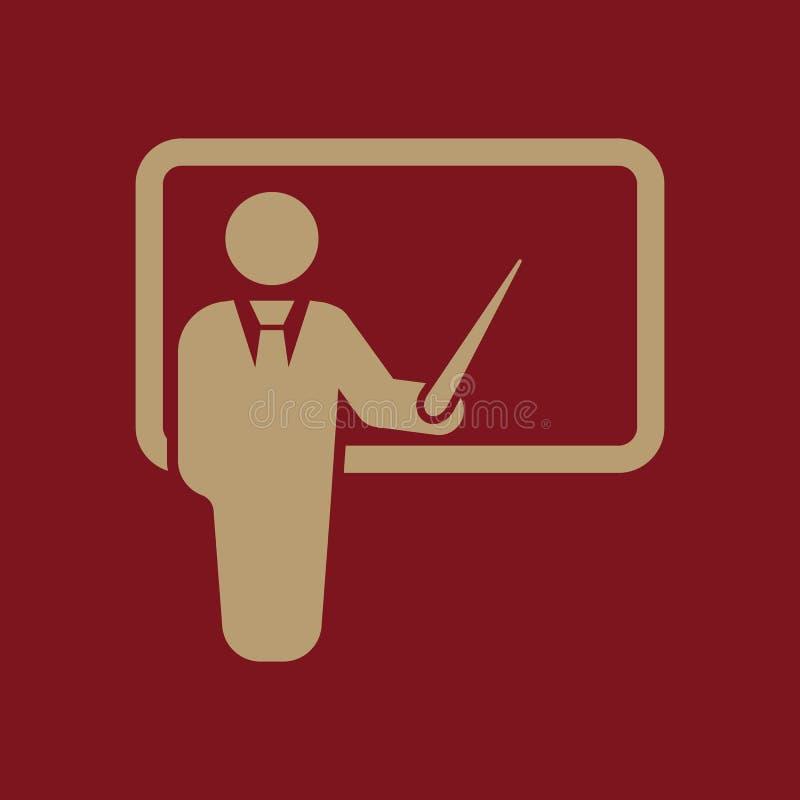 Το εικονίδιο δασκάλων Κατάρτιση και παρουσίαση, σεμινάριο, σύμβολο εκμάθησης επίπεδος διανυσματική απεικόνιση