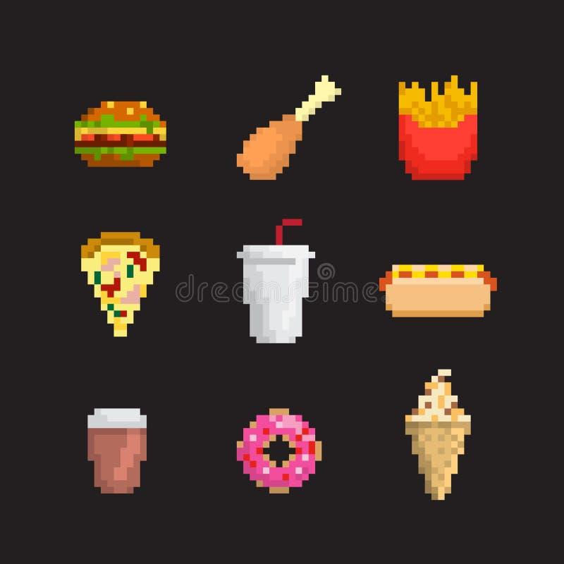 το εικονίδιο γρήγορου φαγητού ανασκόπησης απομόνωσε το καθορισμένο λευκό ελεύθερη απεικόνιση δικαιώματος