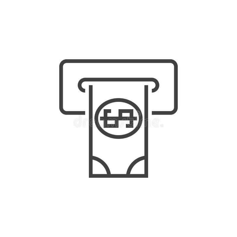 Το εικονίδιο γραμμών του ATM, αποσύρει το διανυσματικό λογότυπο περιλήψεων μετρητών, γραμμικό διανυσματική απεικόνιση