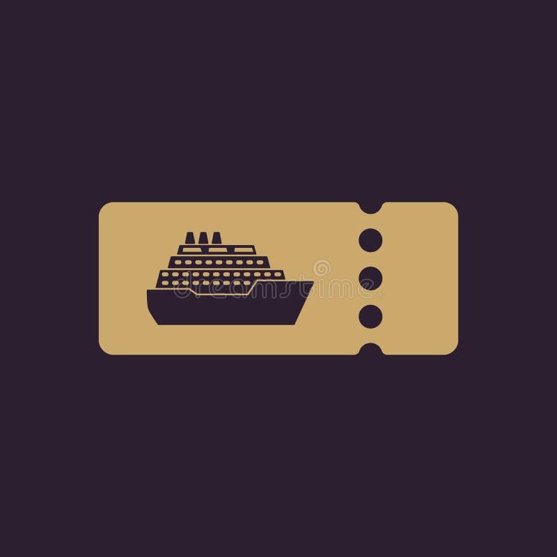 Το εικονίδιο εισιτηρίων κρουαζιερόπλοιων Σύμβολο ταξιδιού ελεύθερη απεικόνιση δικαιώματος