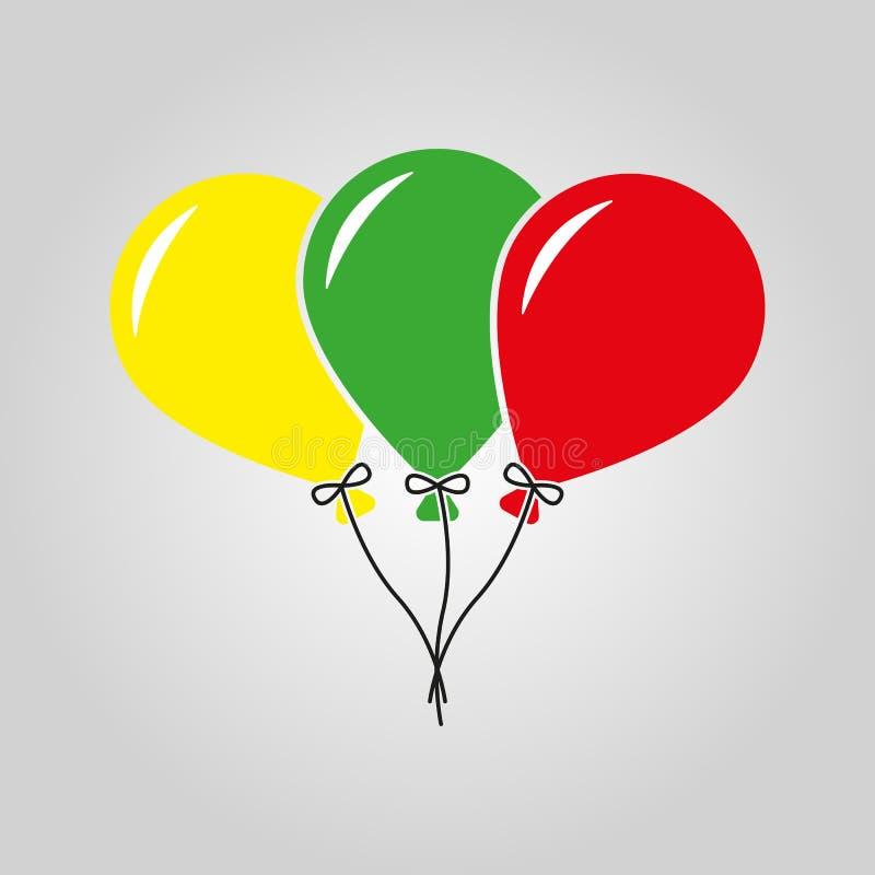 Το εικονίδιο μπαλονιών Διασκέδαση και εορτασμός, σύμβολο γενεθλίων επίπεδος απεικόνιση αποθεμάτων