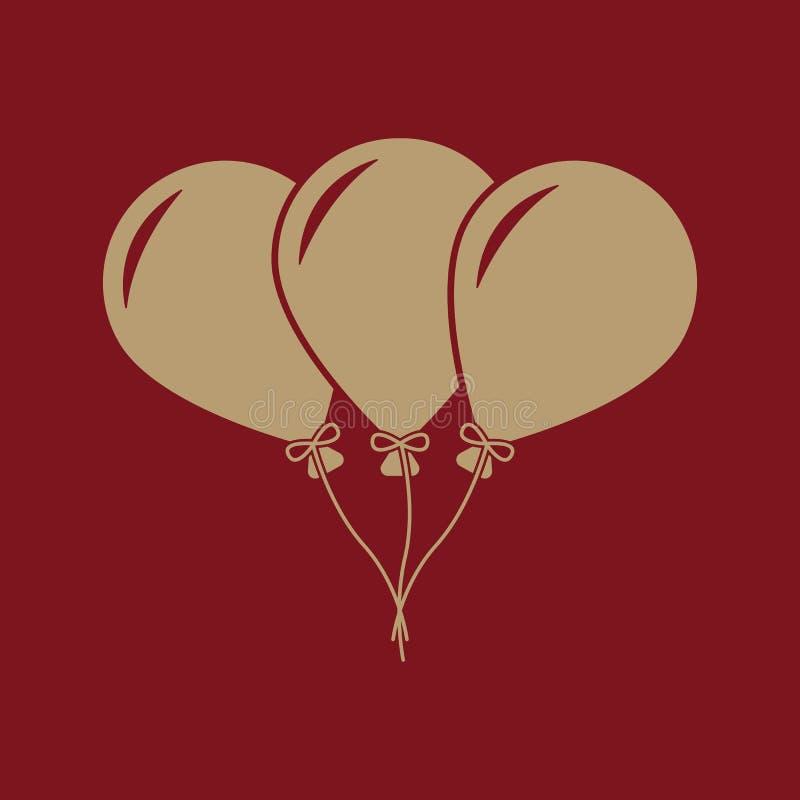 Το εικονίδιο μπαλονιών Διασκέδαση και εορτασμός, σύμβολο γενεθλίων επίπεδος διανυσματική απεικόνιση