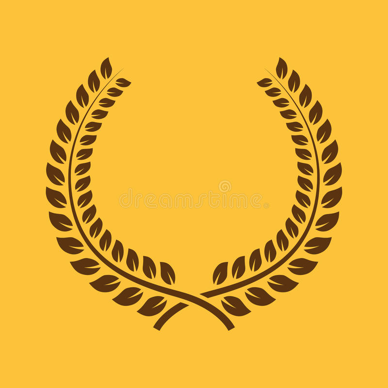 Το εικονίδιο στεφανιών δαφνών Βραβείο και ανταμοιβή, σύμβολο τιμών επίπεδος ελεύθερη απεικόνιση δικαιώματος