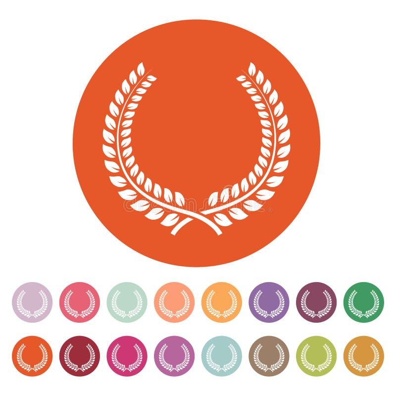 Το εικονίδιο στεφανιών δαφνών Βραβείο και ανταμοιβή, σύμβολο τιμών επίπεδος απεικόνιση αποθεμάτων