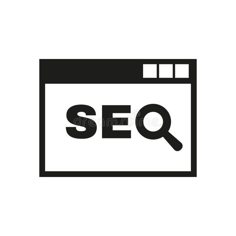 Το εικονίδιο SEO WWW και μηχανή αναζήτησης, ανάπτυξη, σύμβολο αναζήτησης Ui Ιστός ΛΟΓΟΤΥΠΟ Σημάδι Επίπεδο σχέδιο αποστολικό απεικόνιση αποθεμάτων