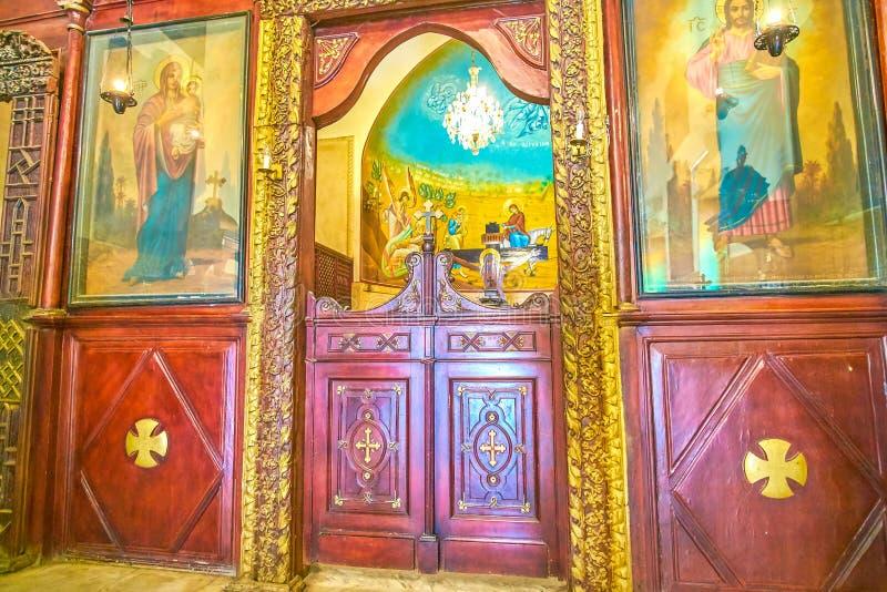 Το εικονοστάσιο της εκκλησίας υπόθεσης στο κοπτικό Κάιρο, Αίγυπτος στοκ φωτογραφία με δικαίωμα ελεύθερης χρήσης