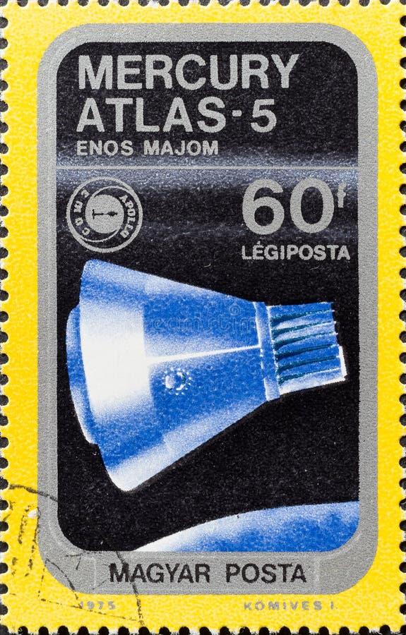 Το εκλεκτής ποιότητας γραμματόσημο παρουσιάζει υδράργυρο άτλαντας-5 στοκ εικόνα