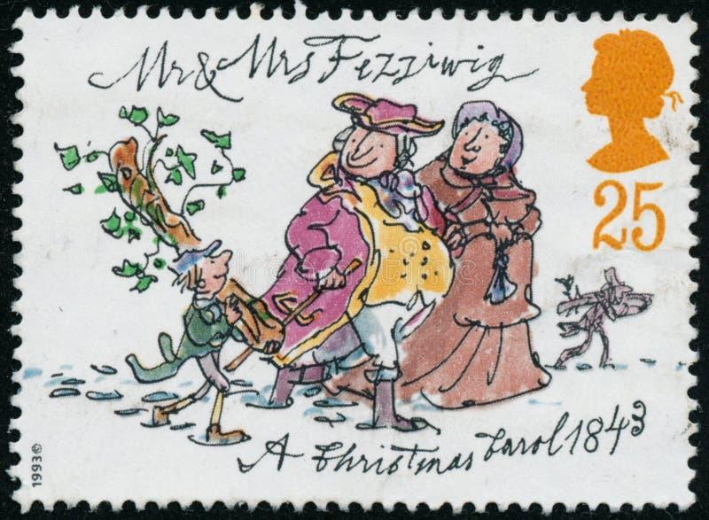 Το εκλεκτής ποιότητας γραμματόσημο που τυπώνεται στη Μεγάλη Βρετανία το 1993 παρουσιάζει Χριστούγεννα Carol από το Charles Dicken στοκ φωτογραφία με δικαίωμα ελεύθερης χρήσης