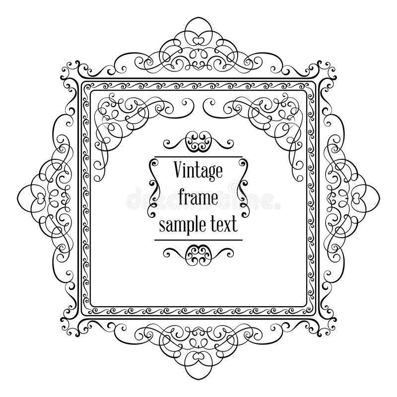 Το εκλεκτής ποιότητας διακοσμητικό διανυσματικό πρότυπο ευχετήριων καρτών με το πλαίσιο και ακμάζει απεικόνιση αποθεμάτων
