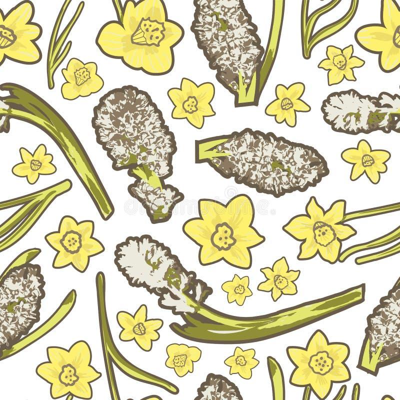 Το εκλεκτής ποιότητας ελατήριο ανθίζει τους φωτογραφικούς άσπρους υάκινθους και συρμένα τα χέρι κίτρινα daffodils σε ένα μικτό ύφ ελεύθερη απεικόνιση δικαιώματος