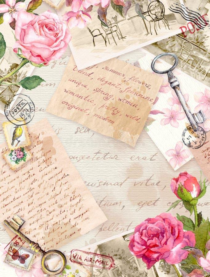 Το εκλεκτής ποιότητας παλαιό έγγραφο με γραπτές τις χέρι επιστολές, φωτογραφίες, γραμματόσημα, κλειδιά, watercolor αυξήθηκε λουλο στοκ εικόνα