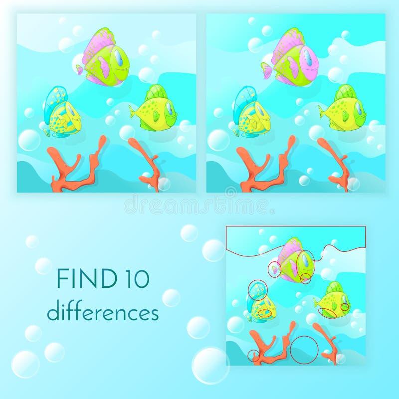 Το εκπαιδευτικό παιχνίδι για τα παιδιά βρίσκει 10 διαφορές στοκ εικόνες