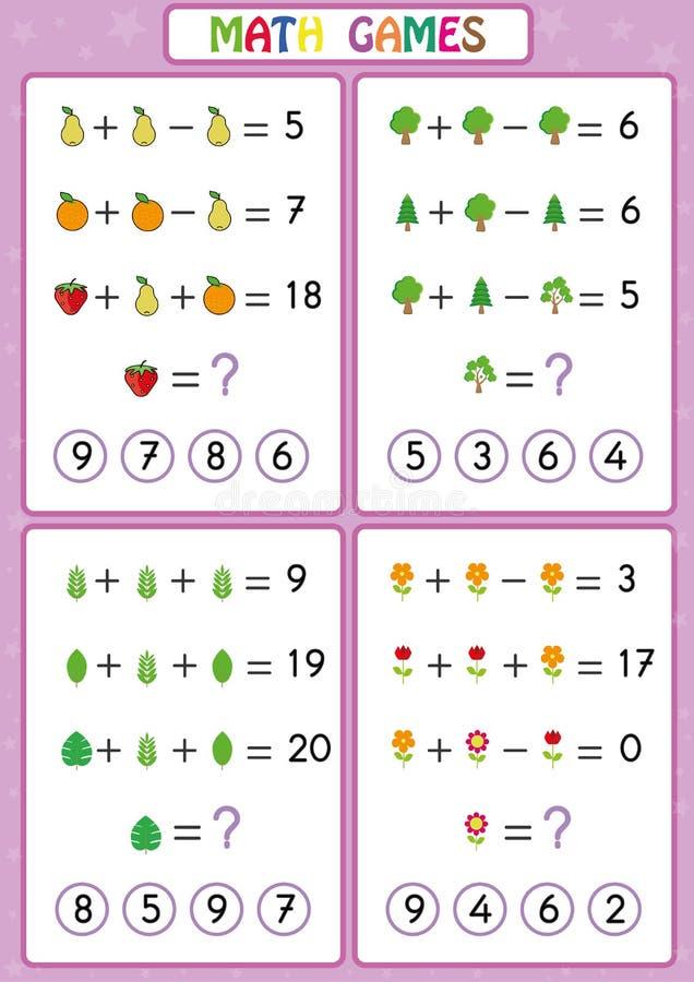 Το εκπαιδευτικό παιχνίδι μαθηματικών για τα παιδιά, φύλλα εργασίας διασκέδασης για τα παιδιά, παιδιά μαθαίνει να λύνει τα προβλήμ διανυσματική απεικόνιση