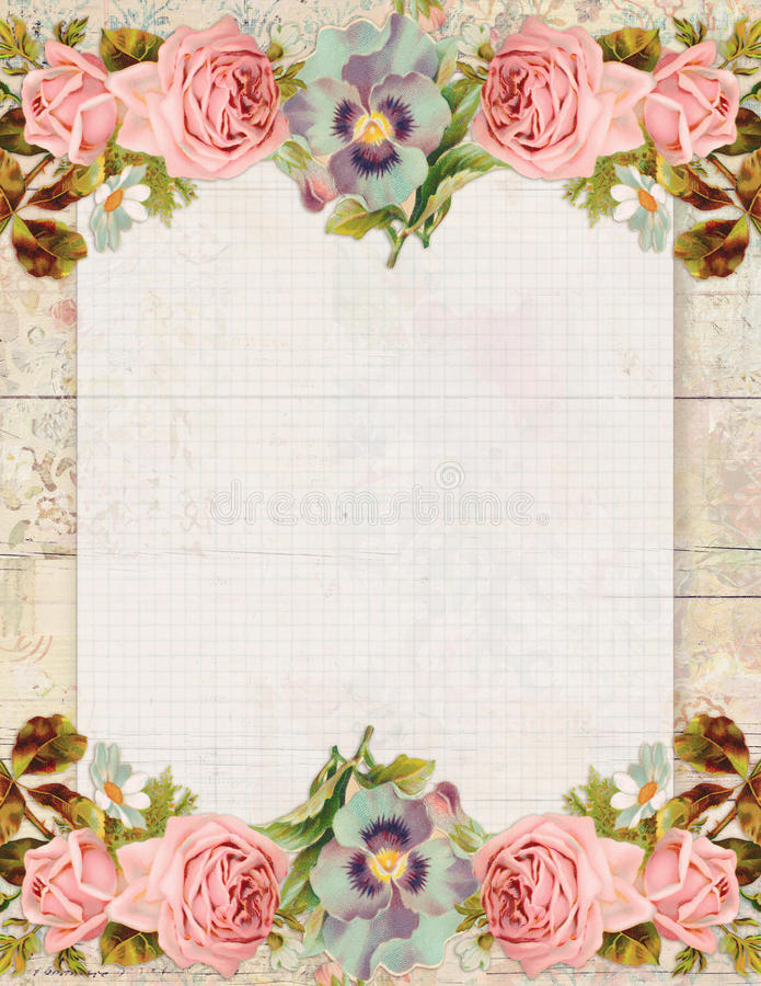 Το εκτυπώσιμο εκλεκτής ποιότητας shabby κομψό ύφος floral αυξήθηκε στάσιμος στο ξύλινο υπόβαθρο ελεύθερη απεικόνιση δικαιώματος