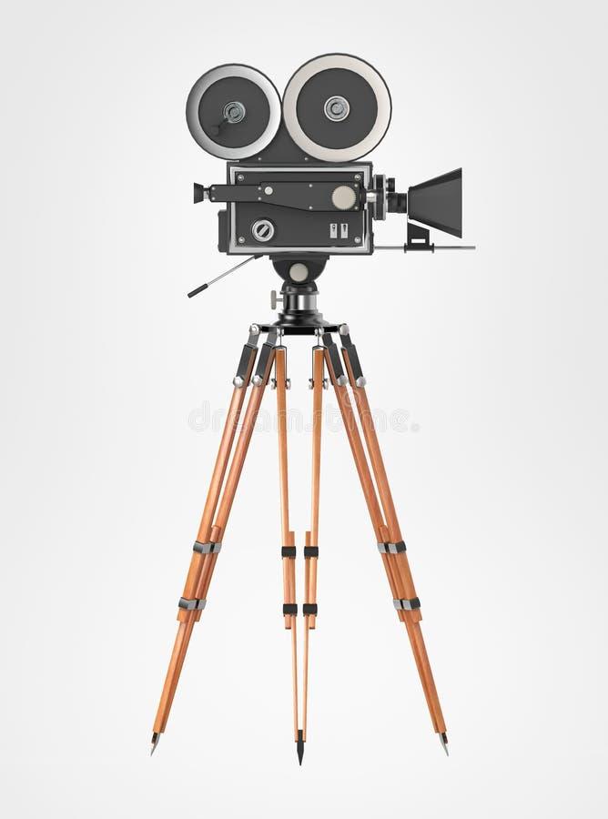 Το εκλεκτής ποιότητας αναδρομικό τρίποδο καμερών κινηματογράφων τοποθετεί απομονωμένος στο λευκό υψηλό - ποιοτική απόδοση ελεύθερη απεικόνιση δικαιώματος