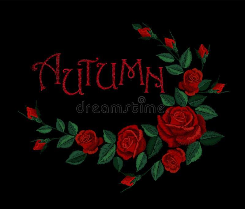 Το εκλεκτής ποιότητας γράφοντας λουλούδι φθινοπώρου κόκκινο αυξήθηκε ρύθμιση Floral μπάλωμα διακοσμήσεων μόδας κεντητικής Φούστα  ελεύθερη απεικόνιση δικαιώματος