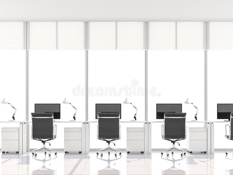 Το ελάχιστο γραφείο ύφους με το παράθυρο κόλπων τρισδιάστατο δίνει διανυσματική απεικόνιση