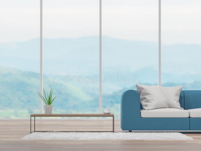 Το ελάχιστο καθιστικό με το μουτζουρωμένο υπόβαθρο θέας βουνού τρισδιάστατο δίνει απεικόνιση αποθεμάτων
