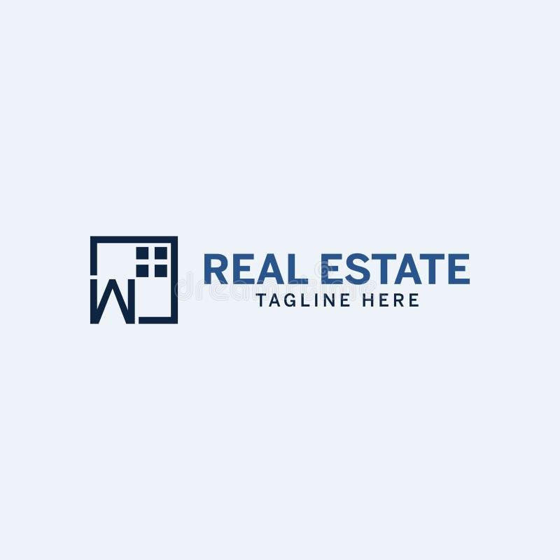 Το ελάχιστο μπλε λογότυπο ακίνητων περιουσιών με τον επαγγελματία κοιτάζει ελεύθερη απεικόνιση δικαιώματος