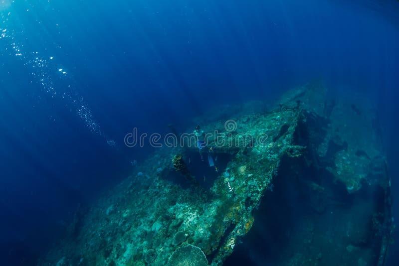 Το ελεύθερο άτομο δυτών βουτά στο ναυάγιο, υποβρύχιος ωκεανός στοκ φωτογραφία με δικαίωμα ελεύθερης χρήσης