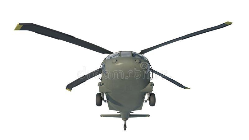 Το ελικόπτερο κατά την πτήση, στρατιωτικό αεροπλάνο, μπαλτάς στρατού που απομονώνεται στο άσπρο υπόβαθρο, μπροστινή κατώτατη άποψ απεικόνιση αποθεμάτων