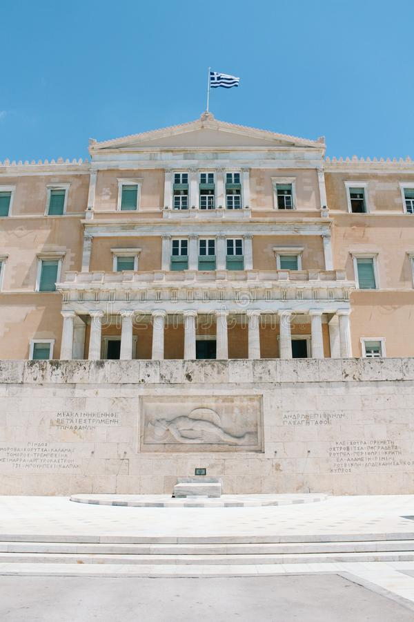 Το ελληνικό Κοινοβούλιο στην Αθήνα, Ελλάδα στοκ εικόνα με δικαίωμα ελεύθερης χρήσης
