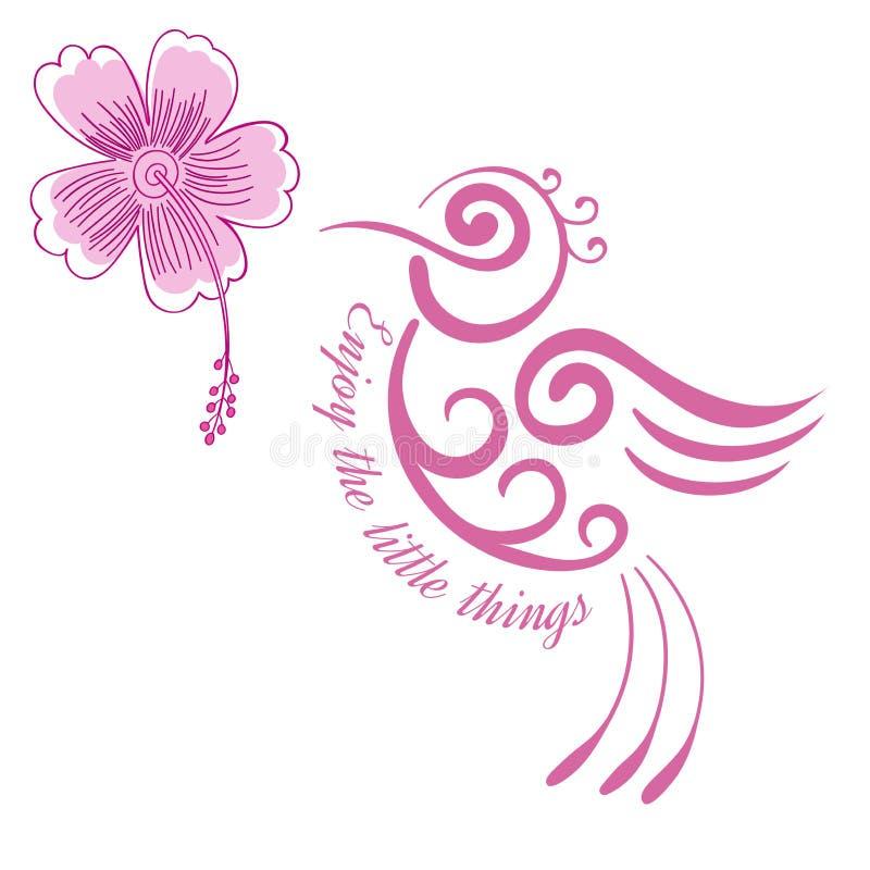 Το εμπνευσμένο απόσπασμα λουλουδιών κολιβρίων, κινητήριο τυποποιημένο πουλί αφισών με hibiscus ανθίζει το της Χαβάης τροπικό πουλ ελεύθερη απεικόνιση δικαιώματος