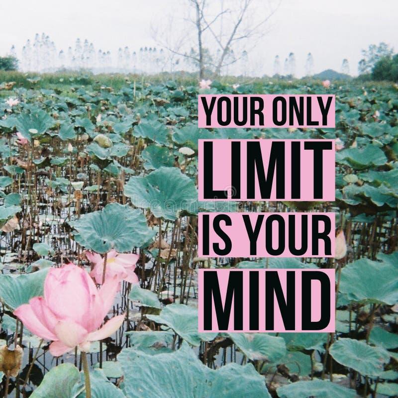 """Το εμπνευσμένο κινητήριο απόσπασμα το """"μόνο όριό σας είναι το μυαλό σας """"στη λίμνη κρίνων νερού στοκ εικόνα με δικαίωμα ελεύθερης χρήσης"""