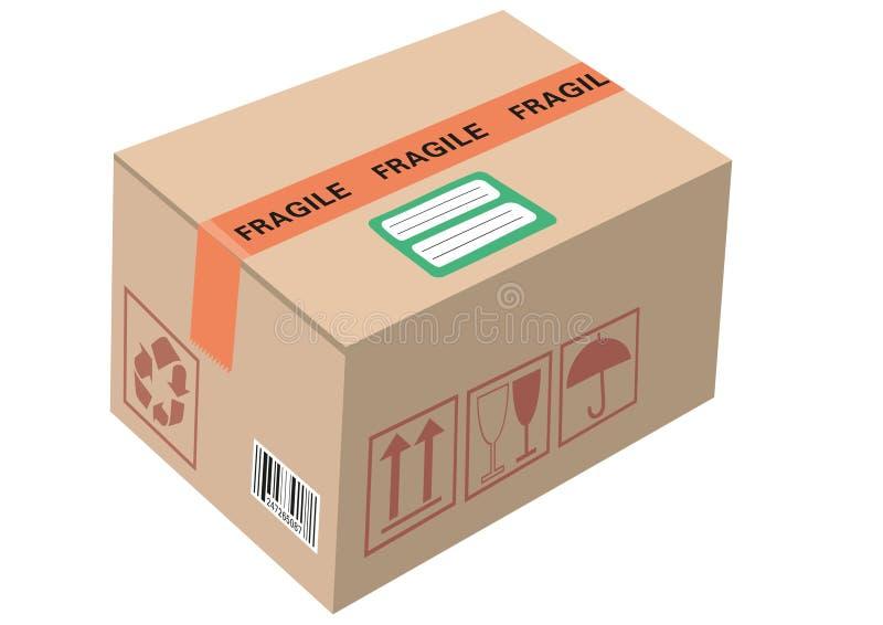 Το εμπορευματοκιβώτιο χαρτοκιβωτίων κουτιών από χαρτόνι έκλεισε τη συσκευασία κιβωτίων δεμάτων με το χειρισμό του κώδικα φραγμών  απεικόνιση αποθεμάτων