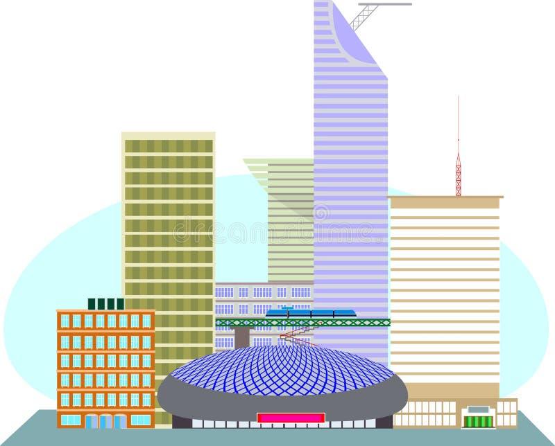 Το εμπορικό κέντρο της αμερικανικής μητρόπολης απεικόνιση αποθεμάτων