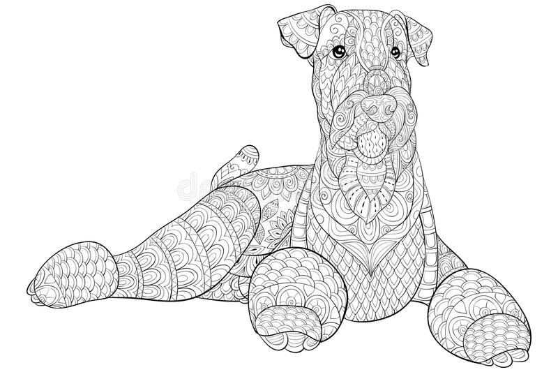 Το ενήλικο χρωματίζοντας βιβλίο, σελιδοποιεί ένα χαριτωμένο απομονωμένο σκυλί για τη χαλάρωση Απεικόνιση ύφους τέχνης της Zen απεικόνιση αποθεμάτων