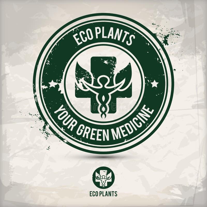 Το εναλλακτικό eco φυτεύει το γραμματόσημο διανυσματική απεικόνιση
