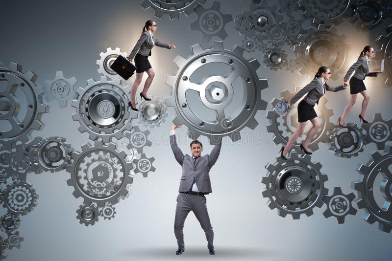 Το ενισχυτικό εργαλείο επιχειρηματιών στην έννοια ομαδικής εργασίας ελεύθερη απεικόνιση δικαιώματος