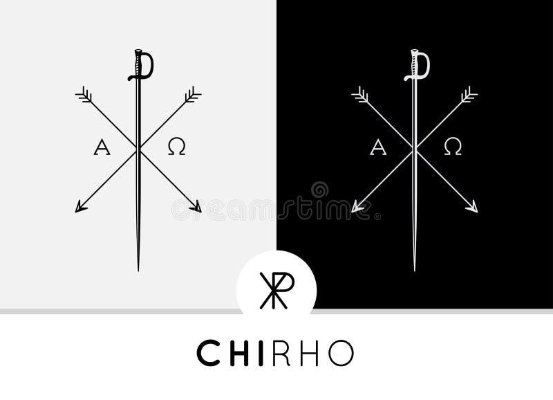 Το εννοιολογικό αφηρημένο σχέδιο συμβόλων chi-Rho με το ξίφος & τα βέλη συνδύασαν με τα άλφα & ωμέγα σημάδια ελεύθερη απεικόνιση δικαιώματος