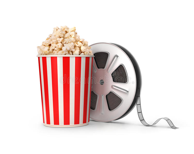 Το εξέλικτρο και popcorn ταινιών ελεύθερη απεικόνιση δικαιώματος